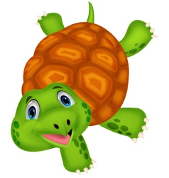 Cute turtle cartoon standing with hand vector image