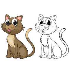 Doodle animal character for cute cat vector