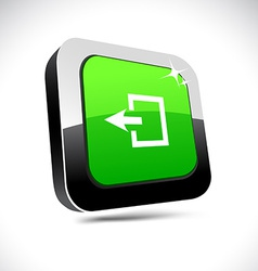 Exit 3d square button vector