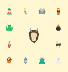 flat icons goblin fish girl dinosaur and other vector image