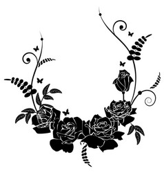 Border Butterfly Floral Frame Black And White Pattern Vector