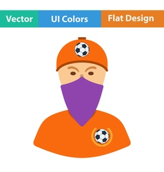 Football fan with covered face by scarf icon vector image