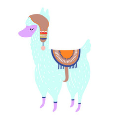 funny llama isolated on white blue alpaca animal vector image
