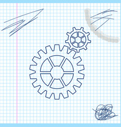 gear line sketch icon isolated on white vector image