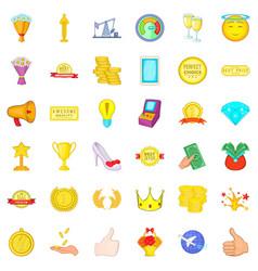 Gemstone icons set cartoon style vector