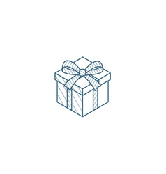 gift box isometric icon 3d line art technical vector image