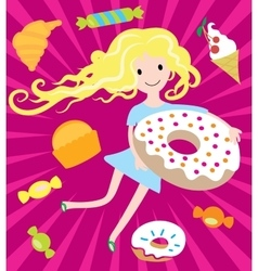 Girl dreams with big donut and tasty sweets vector image vector image