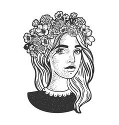 girl flower wreath sketch vector image