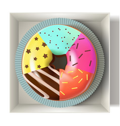 Glazed colored donut in box 3d vector