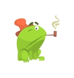 Green Frog Funny Character Smoking Pipe Childish vector