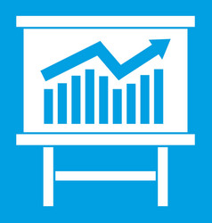 Growing chart presentation icon white vector