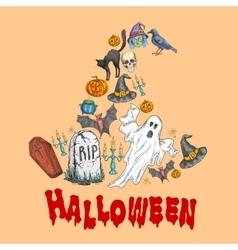 Halloween celebration symbols in witch hat shape vector image