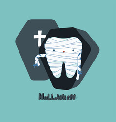 Halloween day of dental tooth fantacy concept vector