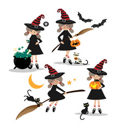 halloween little witches collection vector image