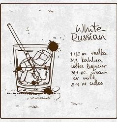 Hand drawn White Russian cocktail vector image