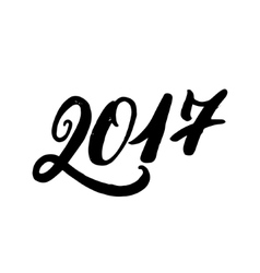 Hand written lettering 2017 New Year vector image