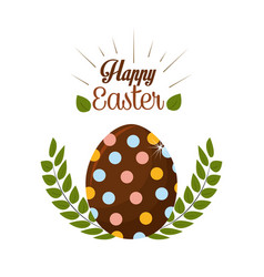 Happy easter rabbit eggs day icon vector