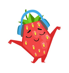 Happy funny strawberry dancing and listening to vector