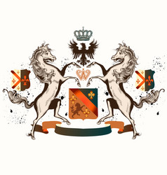 Heraldic design with coat of arms horses and crown vector