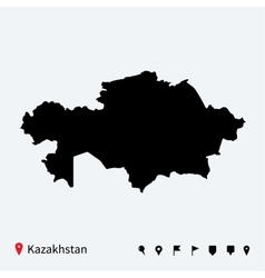 High detailed map of Kazakhstan with navigation vector