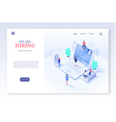 hiring website page flat template vector image