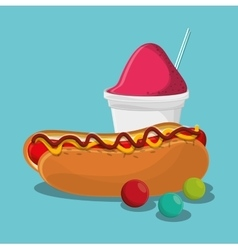 Hot dog fast and carnival food design vector