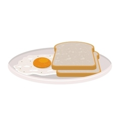 image color of dish slices bread and egg vector image vector image