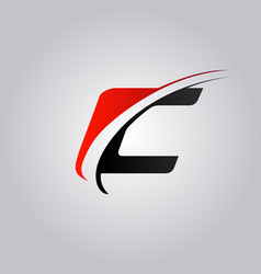 Initial c letter logo with swoosh colored red and vector