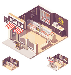 isometric butcher shop interior vector image