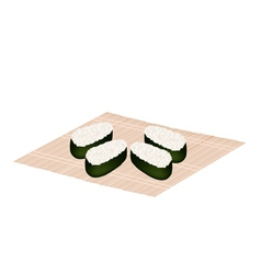 Japanese Rice Maki Sushi on Bamboo Mat vector