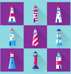 lighthouse icons set in flat style with long vector image