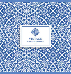 Luxury blue and white vintage seamless pattern vector