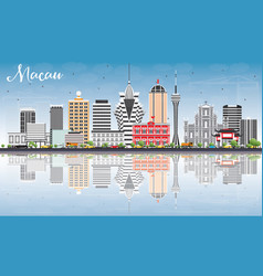 Macau skyline with gray buildings blue sky vector
