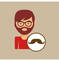 Man bearded hipster and mustache icon vector