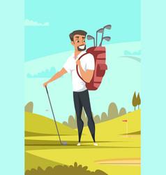 man playing golf flat vector image