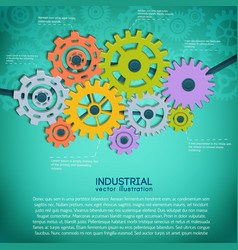 manufacturing mechanical gears background vector image