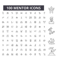 mentor editable line icons 100 set vector image