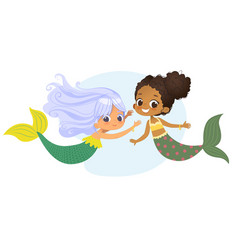 mermaid african caucasian character friend nymph vector image
