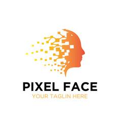 Mind pixel logo designs vector