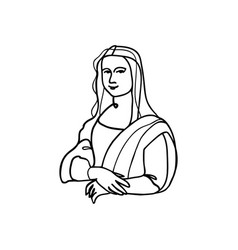 mona lisa line art vector image