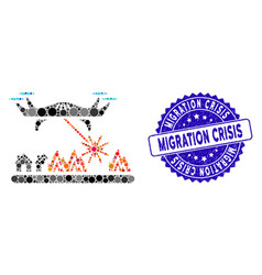 Mosaic laser drone attacks village icon with vector