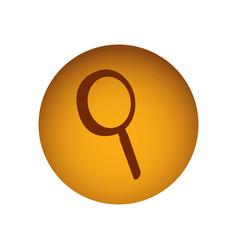 Ochre circular button with silhouette magnifying vector