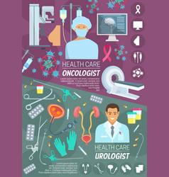 oncologist and urologist doctors medicine vector image