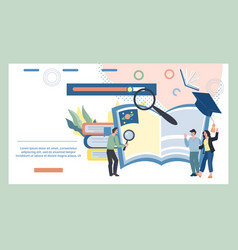 Online learning and elearning banner with tiny vector