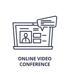 online video conference line icon concept online vector image
