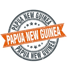 Papua New Guinea red round grunge vintage ribbon vector