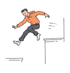 Parkour sportsman jumping from rocartoon sketch vector