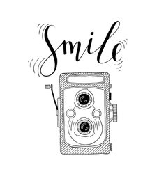 Photo camera with lettering - Smile Hand drawn vector