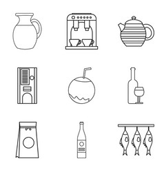 Pleasant dinner icons set outline style vector