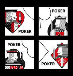 poker card sign king casino gamble set vector image